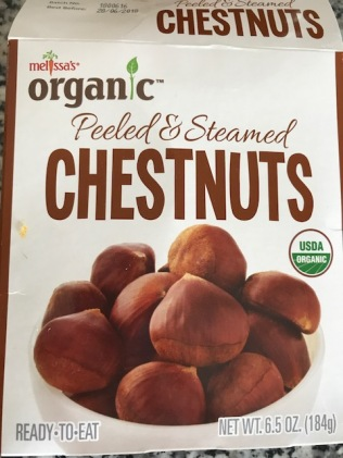 This is the pre roasted package of chestnuts I used. They are delicious. I found them at Plum Market.